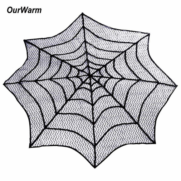 75cm Halloween Tablecloth Spider Web Round Heritage Lace Table Topper Fireplace Mantel Scarf Halloween Table Decoration