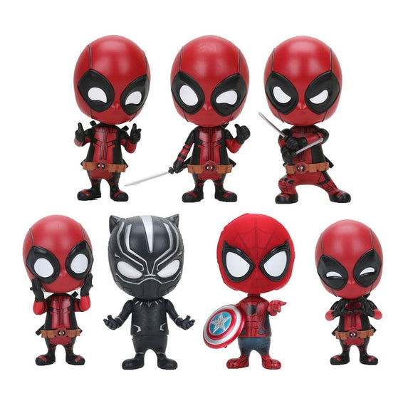 Marvel the Avengers 10cm Deadpool Figure Bobble Head 1/10 scale painted Deadpool spider man Black Panther Doll PVC action figure