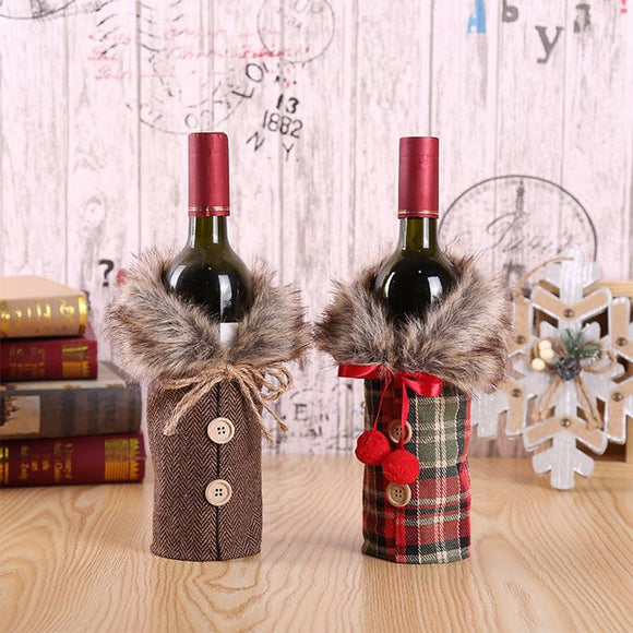 Santa Claus Wine Bottle Cover Christmas Decorations for Home New Year Xmas Decor Red Wine Bottle Covers New Year Christmas Decor - 88digital