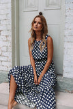 Oufisun Summer Sleeveless Polka Dot Print Women Midi Dress Casual Fashion Dresses A-Line Boho Elegant Beach Long Dress Vestidos