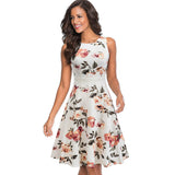Summer Women Vintage Sleeveless Solid Color n Print Work Dress Elegant Collect Waist A-line Party Dress EA079