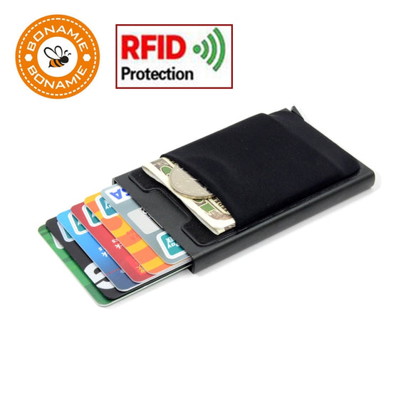 Credit Card Holder Case Aluminum Wallet With Elasticity Back Pocket RFID Thin Metal Wallet Business ID Card Holder