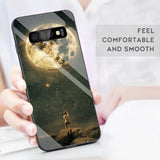 Tempered Glass Case For Samsung Galaxy S10 S9 S8 Plus S10e A7 2018 Note 9 8 Shockproof Cover Star Space Gradient Case