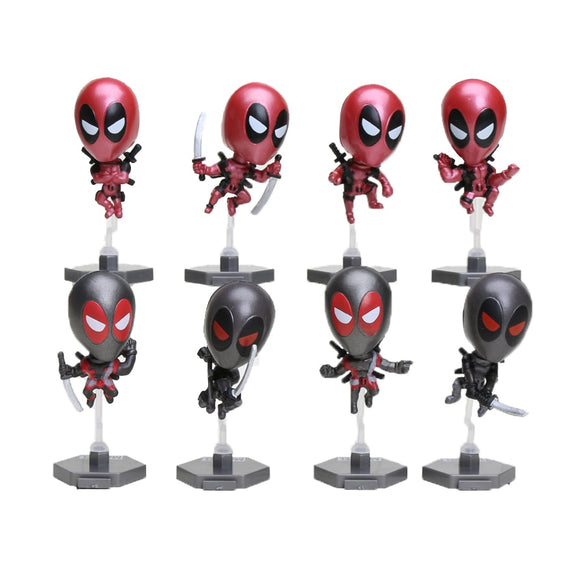 8pcs/lot Marvel the avengers Deadpool Wade Winston Wilson PVC Action Figure Doll Collectible Model Toys children gift