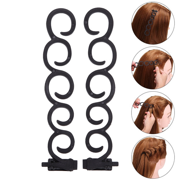 2Pcs/set Lady French Hair Braiding Tool Magic Hair Twist Styling Clip Braider Roller Bun Maker DIY Hair Band Accessories