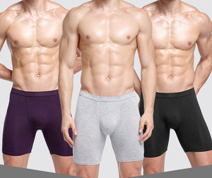 2019 New Mens Boxer Solid U Pouch Sport Long leg Trun Short Breathable Running Gym Jogging trunk