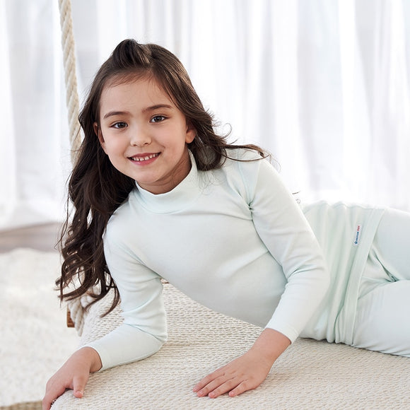 THREEGUN KIDS Thermal Underwear Girls Long Johns Soft Cotton Winter Half High Collar Kids Children Clothes 3-14 Years