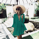 Fitshinling Pleated autumn beach dress female 2018 bohemian flare sleeve pareos sexy hot ruffles whte short dresses for women - 88digital