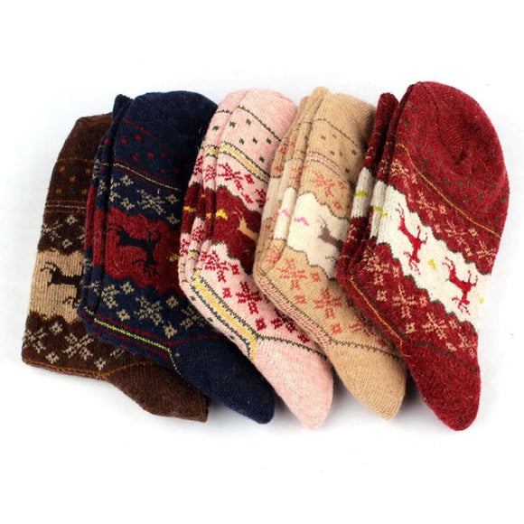 Christmas Deer Moose Design Casual Warm Winter Knit Wool Female Socks Christmas Decoration Supplies - 88digital