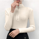 Zipper Half Turtleneck Pullovers Women Sweater Long Sleeve Skinny Elastic Knitted Femme Solid Spring Jumper High Quality Tops - 88digital