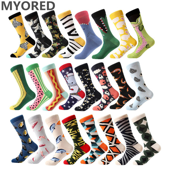 1 pair men socks combed cotton cartoon animal bird shark zebra corn watermelon sea food geometric novelty funny socks