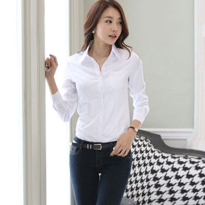 Summer Women Office Lady Formal Party Long Sleeve Slim Collar Blouse Casual Solid White Shirt Tops - 88digital
