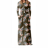 XXL Plus Size Long Dress Women Autumn New Printed Maxi Dress Casual Floor-Length Sundress Pockets Party 7 Colors - 88digital