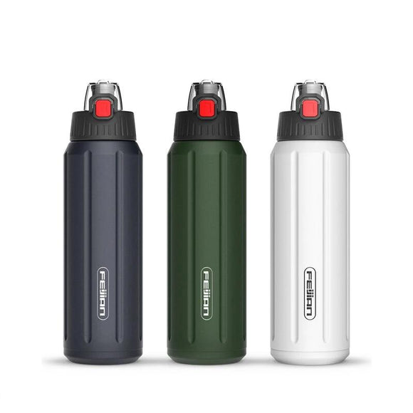 FEIJIAN Thermos Shaker Bottle Portable Sport Water Bottle Double Wall Stainless Steel Vacuum Flask Tumbler Tritan Lid BPA Free
