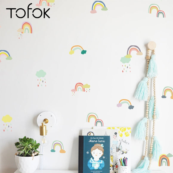 18/24 pcs/set Cartoon Rainbow Wall Sticker Transparent - 88digital