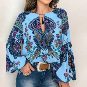 VIEUNSTA 2019 Boho Blouse Floral Print Lantern Sleeve Shirt Sexy Lace-up Tassel O Neck Women Tops Spring Summer Chic Blouses 5XL - 88digital