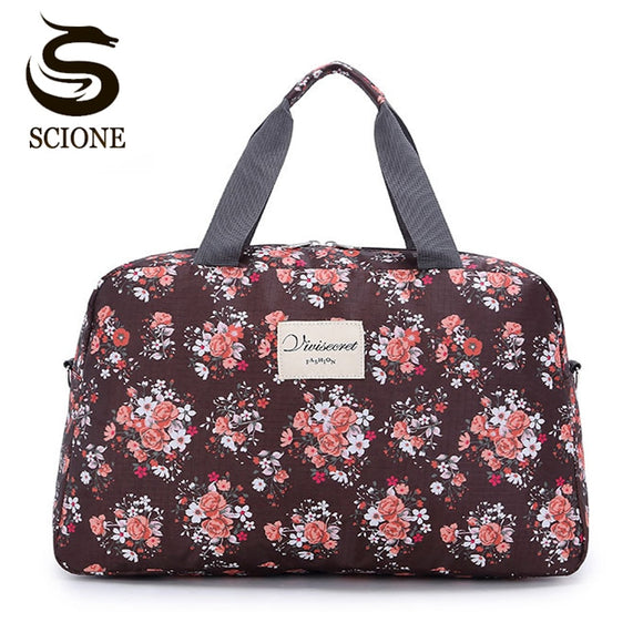 Scione Women Travel Bags Handbags New Hot Fashion Portable Luggage Bag Floral Print Duffel Bags Waterproof Weekend Duffle Bag - 88digital