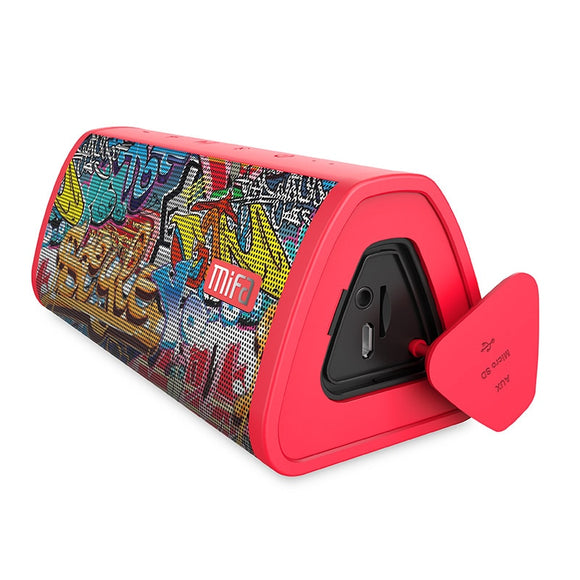 Red-Graffiti Bluetooth Speaker  Built-in Microphone Stereo Rock Sound Outdoor 10W Portable Wireless Speaker Support TF card - 88digital
