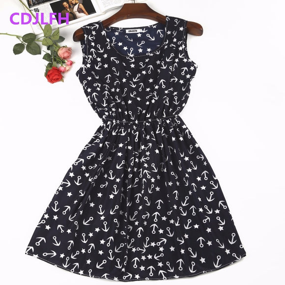 Sexy Summer Autumn Print Vestidos Women Casual Bohemian Floral Sleeceless Vest Slim Beach Chiffon O-neck Dress Vintage Blue - 88digital