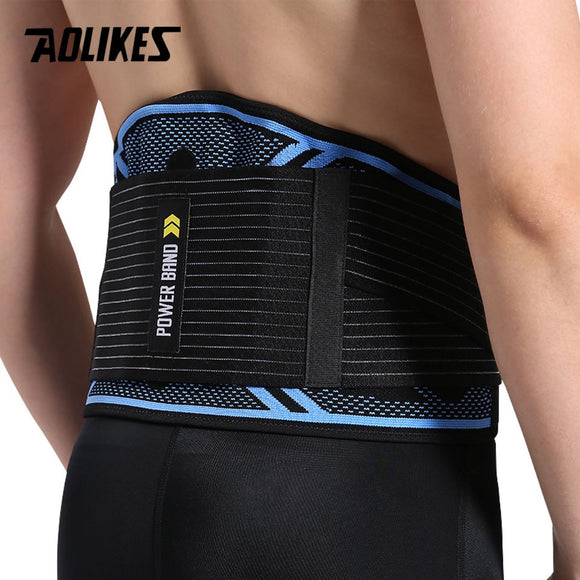 AOLIKES Waist Support 6 springs waist trainer fitness weightlifting belt Adjustable Elastic Double Banded sports Lumbar Brace