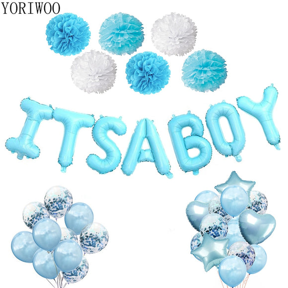 Its A Boy Party Latex Balloon Confetti 1st Birthday Party Decorations Kids Baby Shower Boy Babyshower Baby Gender Reveal - 88digital