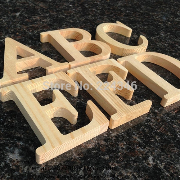 10cm High Wood Wooden Letters A to Z Alphabet Birthday Gift Bridal Wedding Party Home Decorations Free standing Letter - 88digital