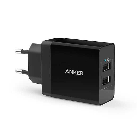 Anker 24W 2-Port USB Wall Charger (EU/UK Plug) and PowerIQ Technology for iPhone, iPad, Galaxy, Nexus, HTC, Motorola, LG etc