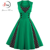 S-4XL Women Robe Retro  Vintage Dress 50s 60s Rockabilly Dot Swing Pin Up Summer Party Dresses Elegant Tunic Vestidos Casual - 88digital