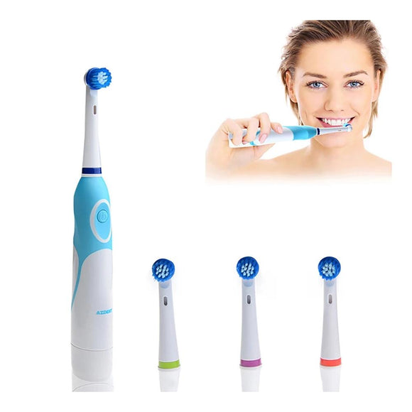 Rotating Electric Toothbrush 2 AA Battery Operated with 4 Brush Heads Oral Hygiene - 88digital