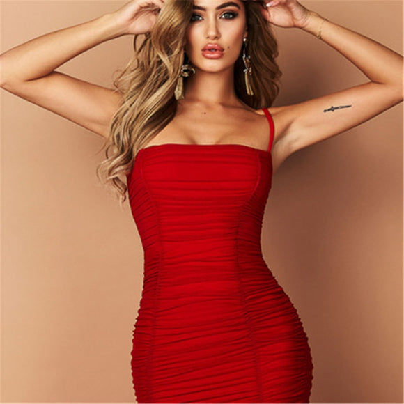 Fantoye Two Layers Mesh Ruched Dress Women Autumn Summer Strapless Elegant Christmas Sexy Club Party Ladies Dresses Vestidos - 88digital