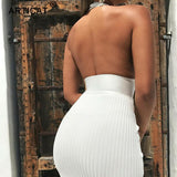 Backless Sexy Knitted Pencil Women White Off Shoulder Long Bodycon Party Dress Elegant Summer Dress - 88digital