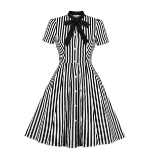 Rosetic Vintage Stripe Midi Dress Women Summer 50s Bow Collar Elegant Office Casual Stylish Goth Ladies Retro Rockabilly Dresses - 88digital