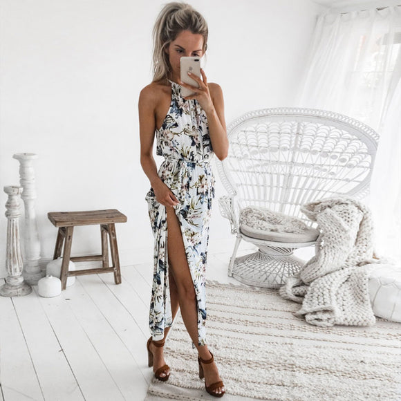 Boho Floral Print Straps Long Dress Women Sexy Backless Summer Beach Maxi Dresses Womens Casual