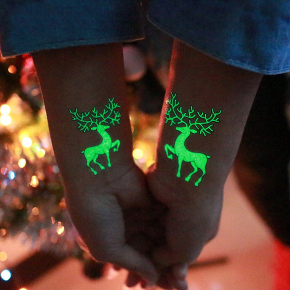 1 Pcs Luminous Temporary Tattoo Stickers Christmas Carnival New Year