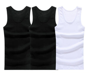 3pcs/lot Man's Cotton Solid Seamless Underwear Brand Clothing Mens Sleeveless Tank Vest Comfortable Undershirt Mens Undershirts