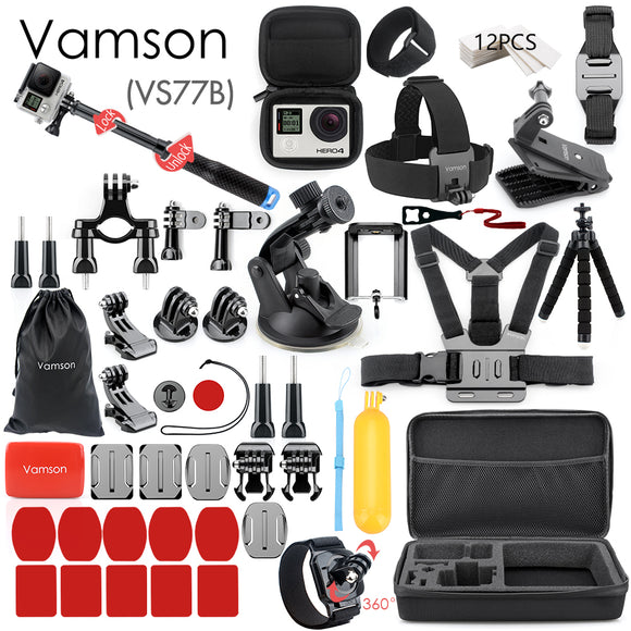 Vamson for Gopro Accessories Set for go pro hero 7 6 5 4 3 kit 3 way selfie stick for Eken h8r / for xiaomi for yi EVA case VS77 - 88digital