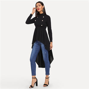 SHEIN Black Mock Neck Double Breasted Front Dip Hem Top Elegant Ruffle Asymmetrical Longline Blouse Women Autumn Flared Blouses