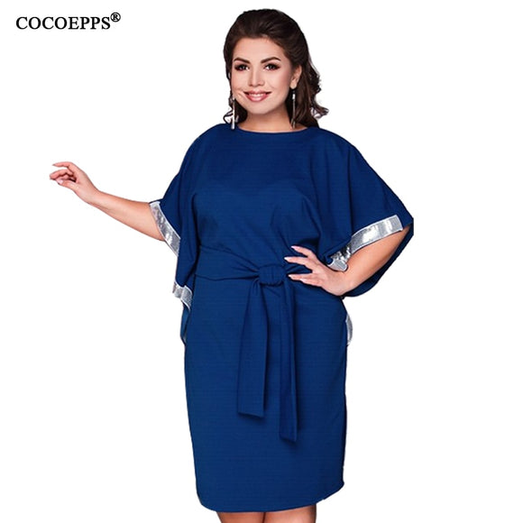 COCOEPPS 2019 New Plus Size Women's Casual Batwing Sleeve Belt Dresses Elegant Loose Large Size Solid Dress Ladies Clothing - 88digital