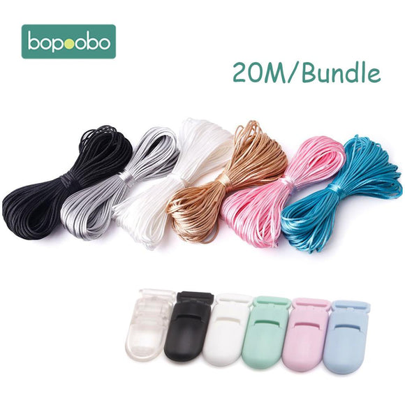 Nylon Rope 20M/Lot Satin Cords 1mm DIY String Accessary Findings Baby Silicone Teething Plastic Clip Baby Teether