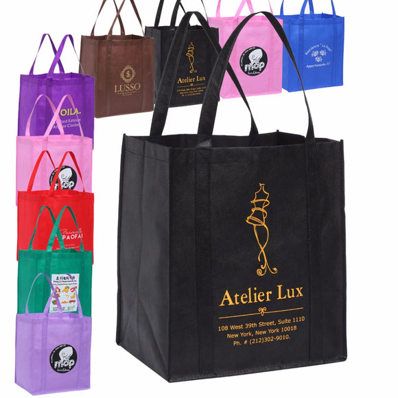 Free Custom Reusable Grocery Tote Shopping Bags With Printed Logo 33H*30.5W*20G CM - 88digital