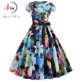 Women Vintage Dress Summer Floral Print Short Sleeve Dresses 50s 60s Office Party Rockabilly Swing Retro Pinup Plus Size - 88digital