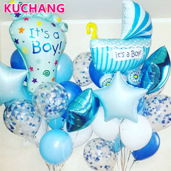 Baby Shower It's A Boy Girl Ankle Baby Carriage Foil Balloons Gender Reveal 1st Birthday Party Decor Supplies Confetti Balloons