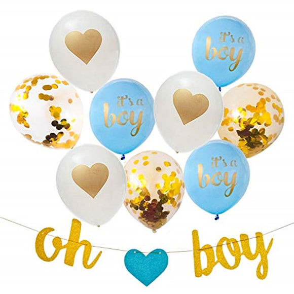 Baby Shower Decorations Party Decor Oh Boy Banner Blue Its a Boy Balloons Confetti Balloons Baby Shower Boy deco anniversaire