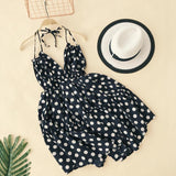 ALPHALMODA Holiday Backless Sling Dress V-collar High Waist Polka Dot Printed Women Summer Beach Vestidos