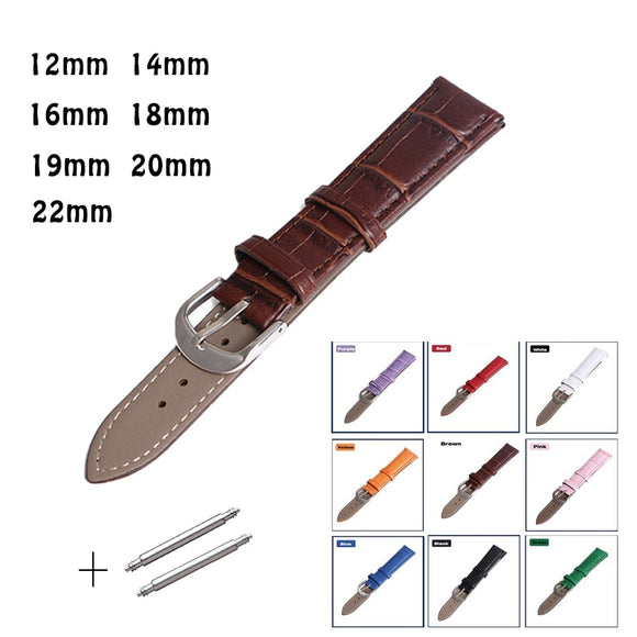 Watch Band Genuine Leather straps Watchbands 12mm 18mm 20mm 14mm 16mm 19mm 22mm watch accessories men Brown Black Belt band - 88digital
