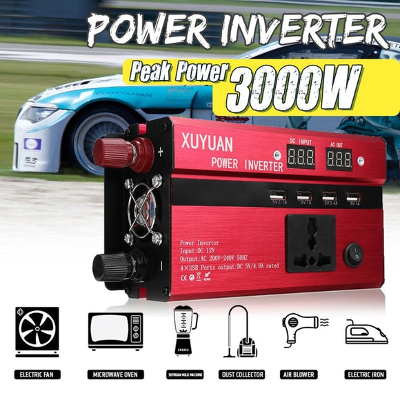 3000W Portable Car Solar Power Inverter Sine Wave Converter DC12V TO 110V Voltage Converter Car Solar Power Inverter US Plug USA