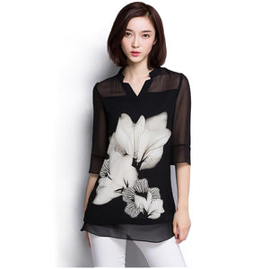 women chiffon blouse Summer tops 2019 Fashion plus size Black blouse women shirt tops Long Sleeve women's clothing blusas 60C 25 - 88digital