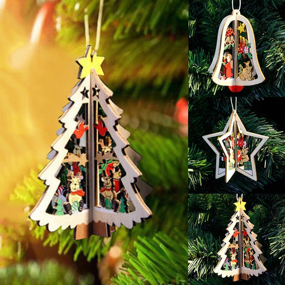 1PC New Christmas Tree Ornaments Hanging Xmas Tree Home Party Decor 3D Pendants High Quality Wooden Pendant Decoration Color - 88digital