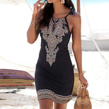 Women Halter Neck Boho Print Sleeveless Bodycon Mini Beachwear Sundress Big Size