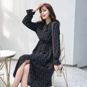 Elegant Stand Collar Polka Dot Women Dress Flare Sleeve Side Split Female Dress Autumn Women Midi Vestidos - 88digital